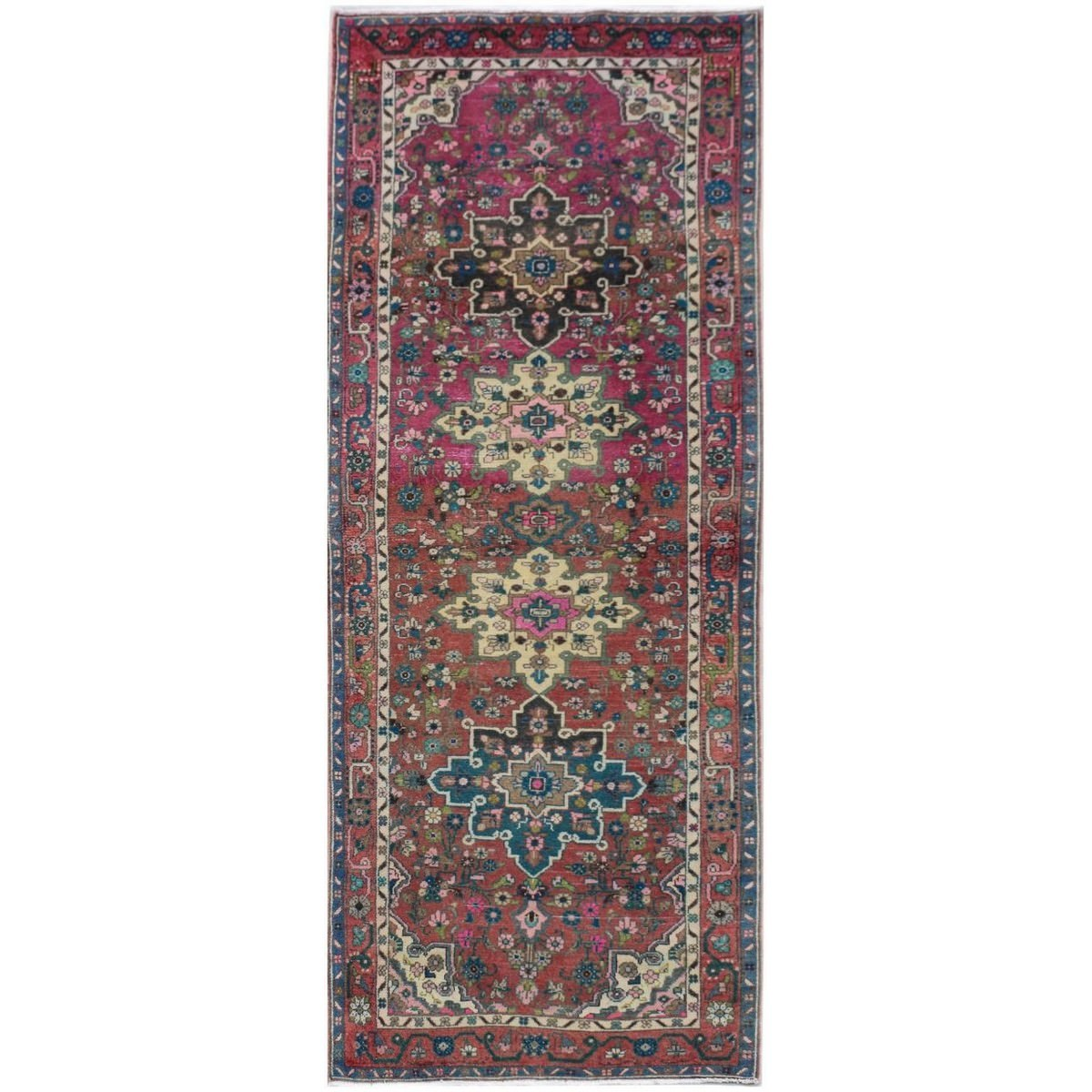 One of A Kind Eman Hand Knotted Wool Persian Runner Rug, 288x105cm