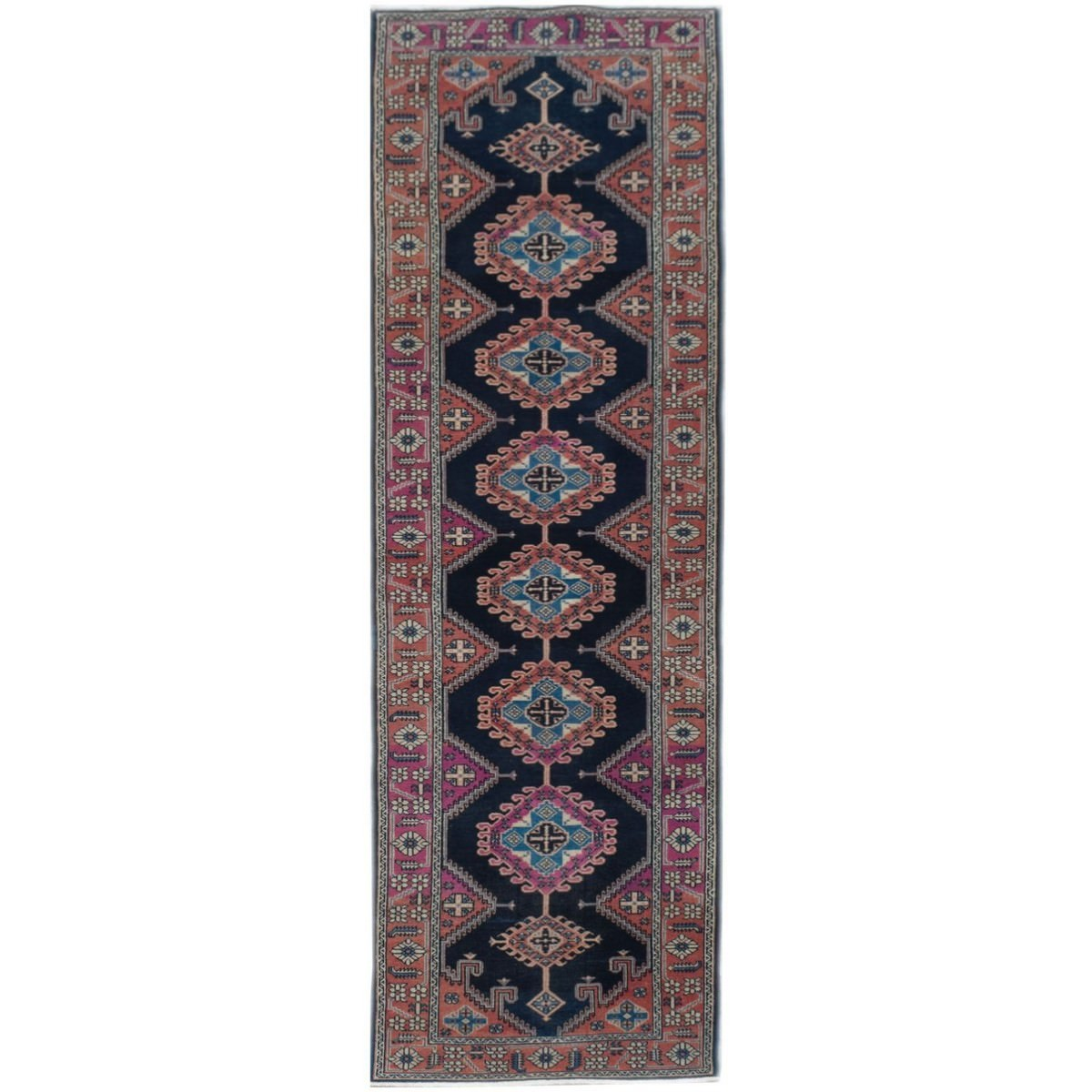 One of A Kind Hamaad Hand Knotted Wool Persian Runner Rug, 337x99cm