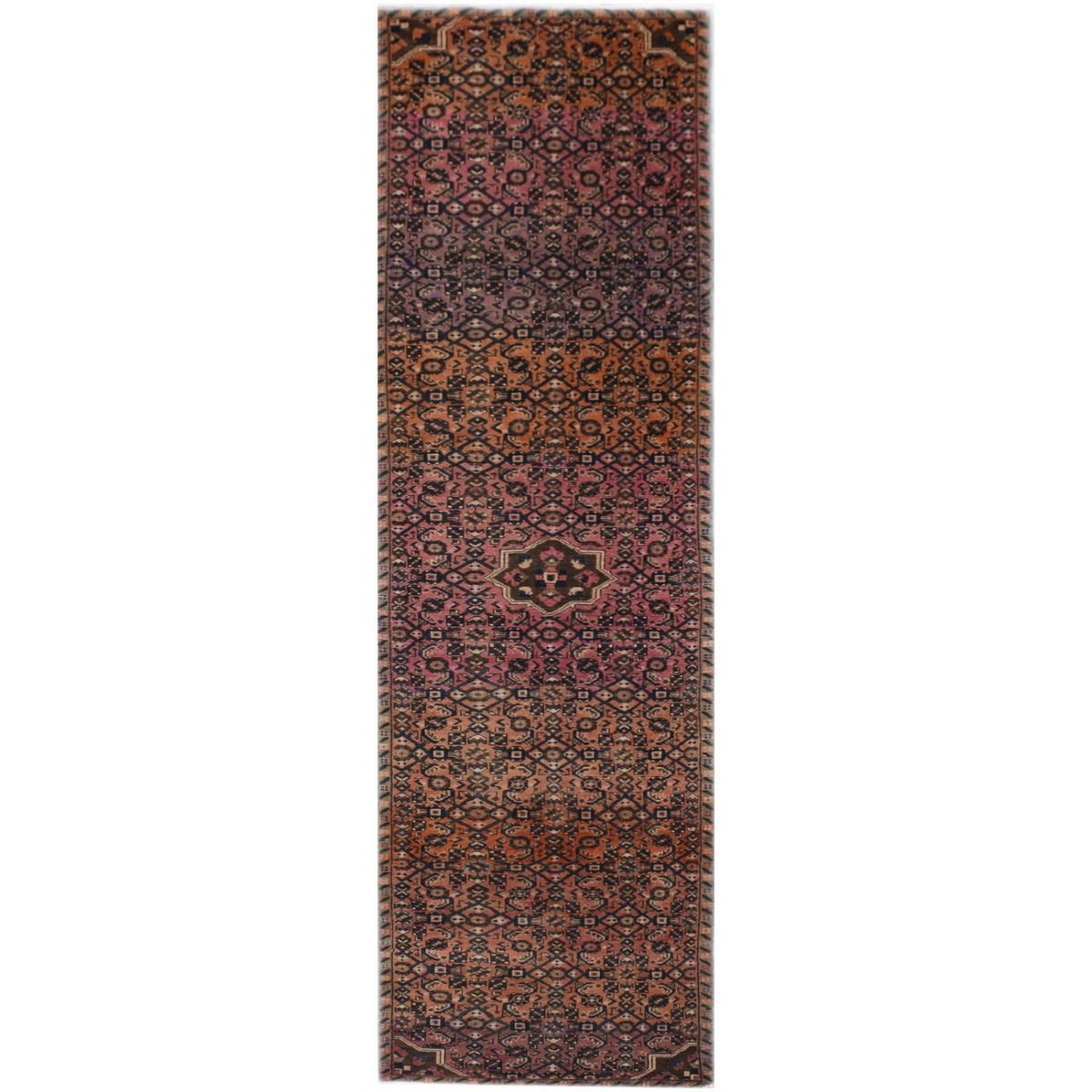 One of A Kind Hagan Hand Knotted Wool Persian Runner Rug, 389x93cm