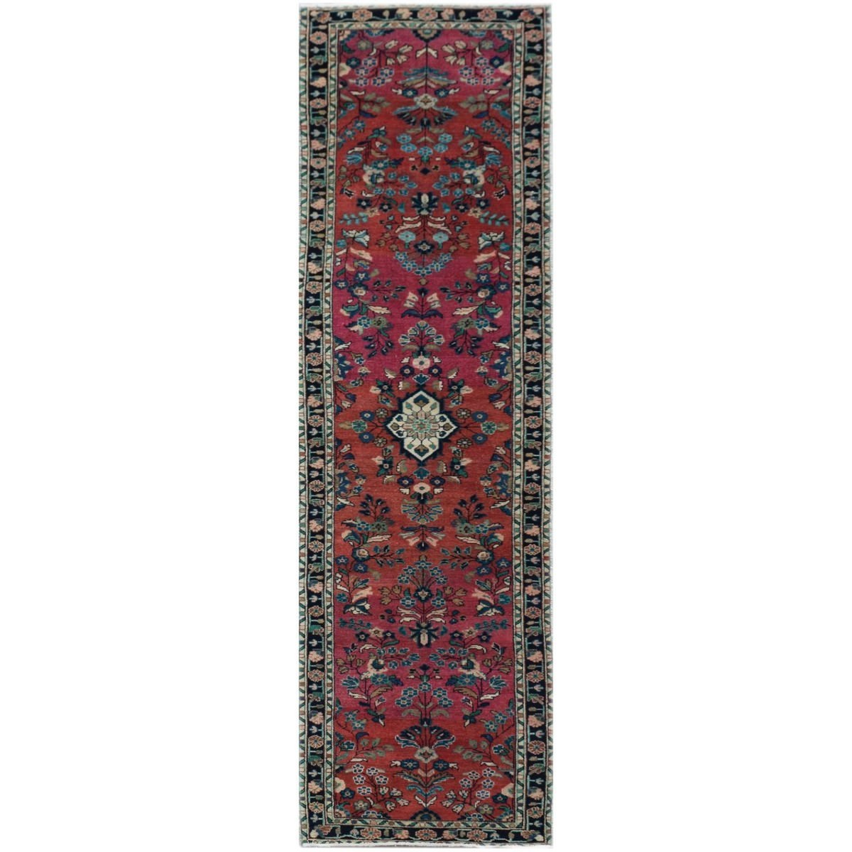 One of A Kind Mateo Hand Knotted Wool Persian Runner Rug, 355x85cm