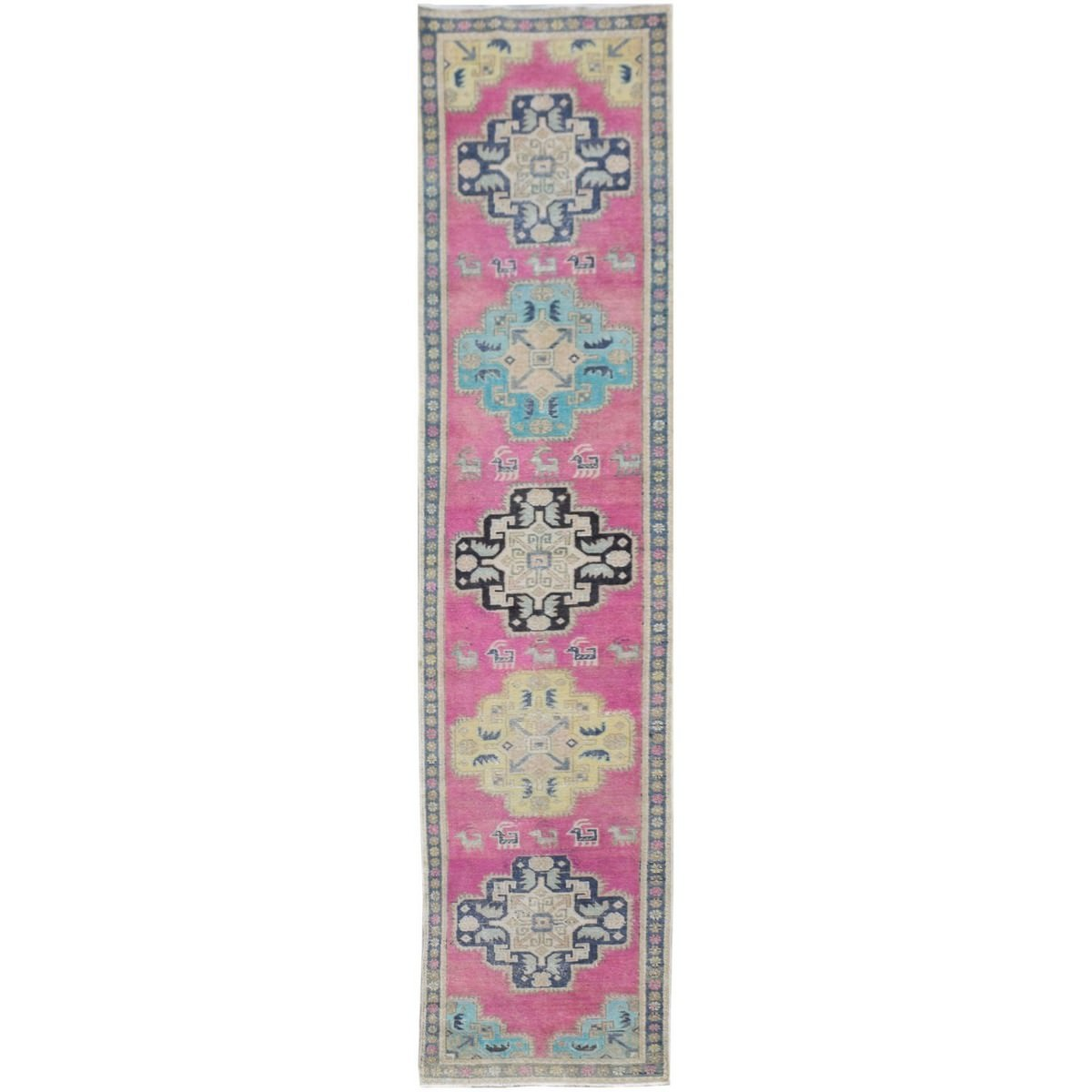 One of A Kind Macias Hand Knotted Wool Persian Runner Rug, 339x66cm