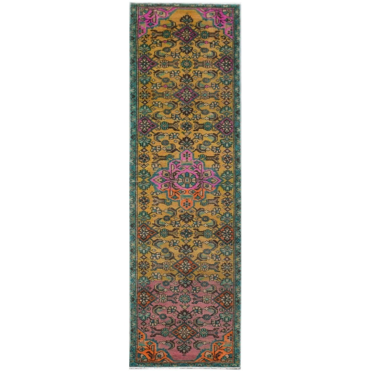 One of A Kind Salazar Hand Knotted Wool Persian Runner Rug, 287x74cm