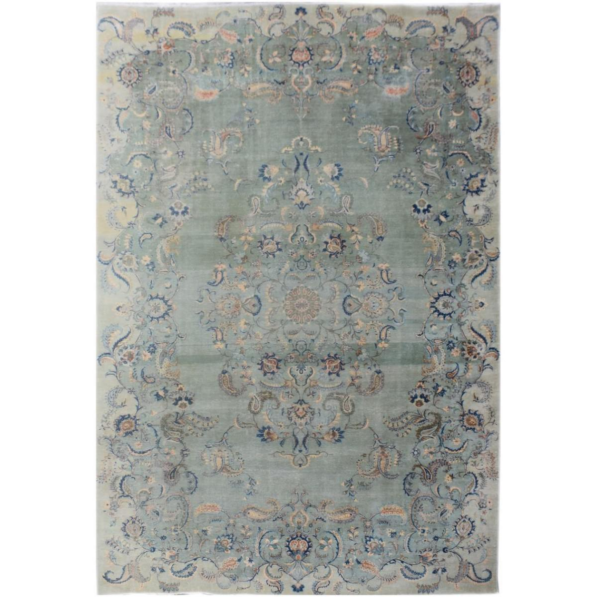 One of A Kind Jamaal Hand Knotted Wool Vintage Persian Kashan Rug, 433x288cm
