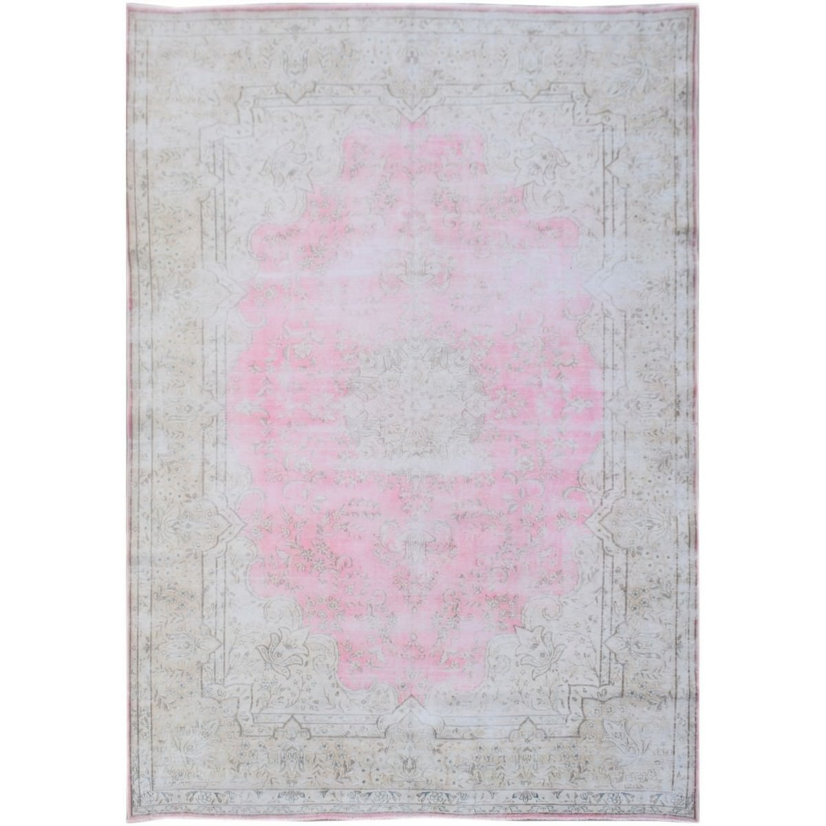One of A Kind Arjun Hand Knotted Wool Vintage Persian Kerman Rug, 340x241cm