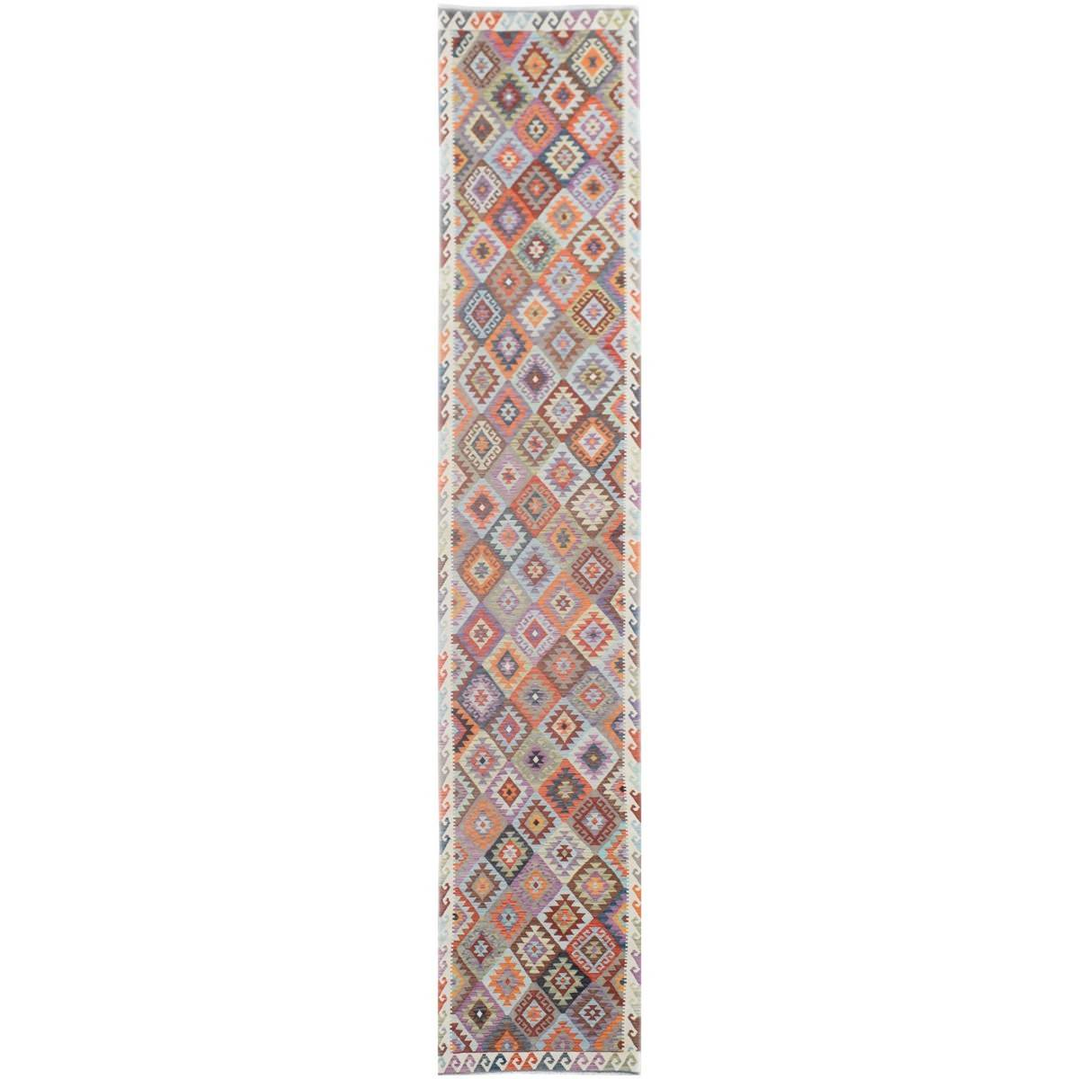 One of A Kind Petra Hand Knotted Wool Maimana Kilim Runner Rug, 477x80cm