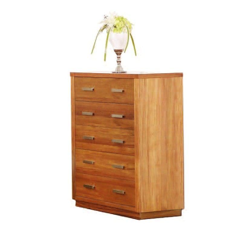 Brighton Solid Blackwood Timber 5 Drawer Tallboy