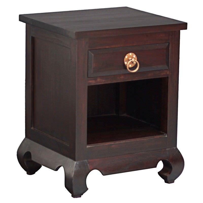 Maluku Solid Mahogany Timber Single Drawer Bedside Table - Chocolate