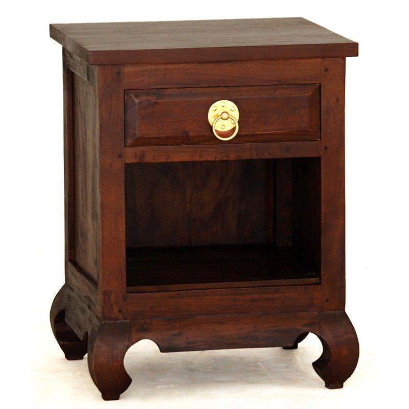 Maluku Solid Mahogany Timber Single Drawer Bedside Table - Mahogany