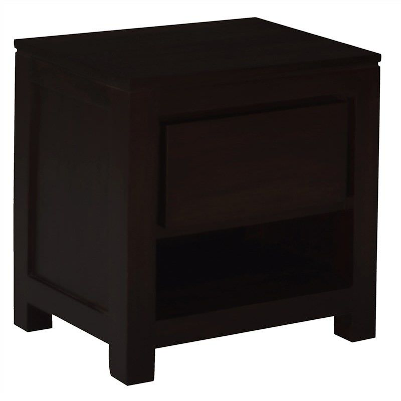 Amsterdam solid mahogany timber single drawer bedside table chocolate watchthetrailerfo