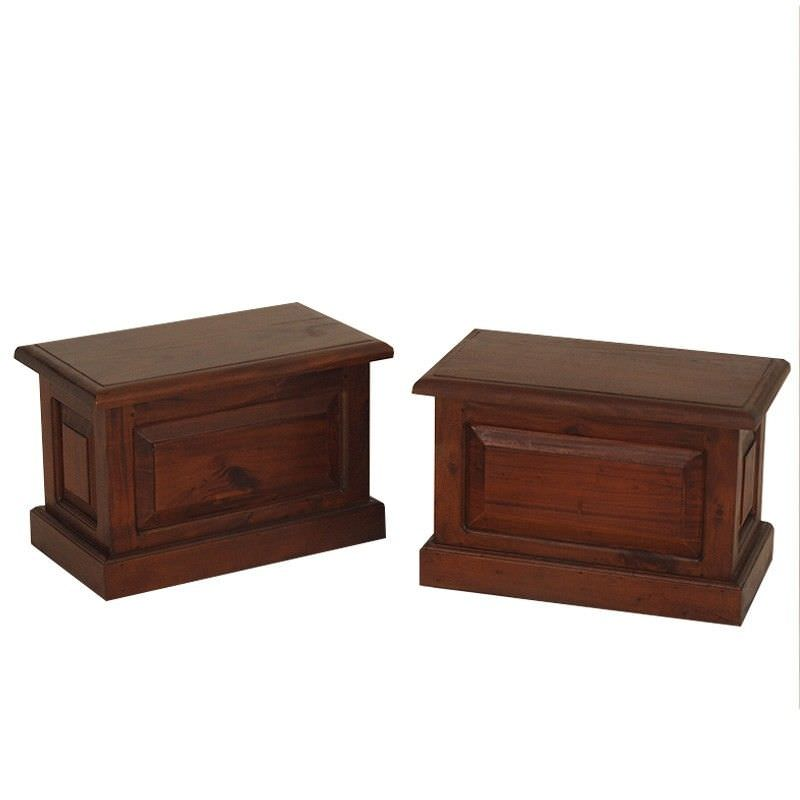 Set of 2 Tasmania Mahogany Timber Blanket Boxes, Small, Mahogany