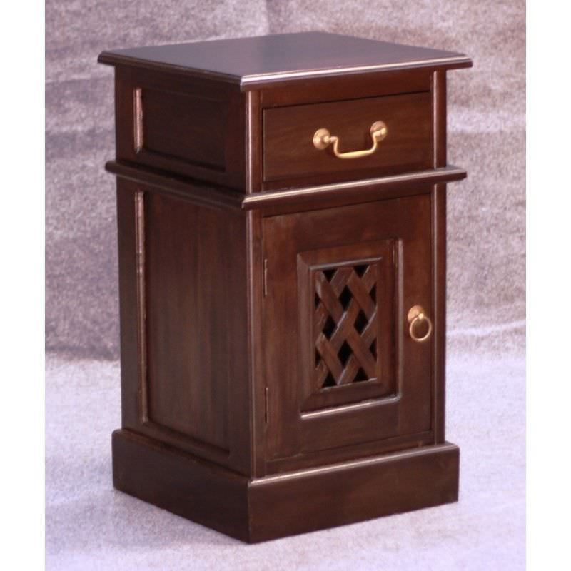 York 2 Carved Door 1 Drawer Solid Mahogany Bedside - Chocolate