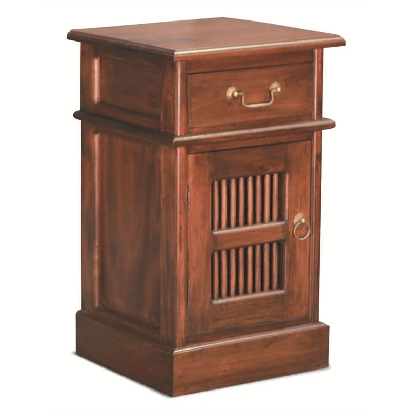 Ruji Solid Mahogany Timber Bedside Table - Mahogany