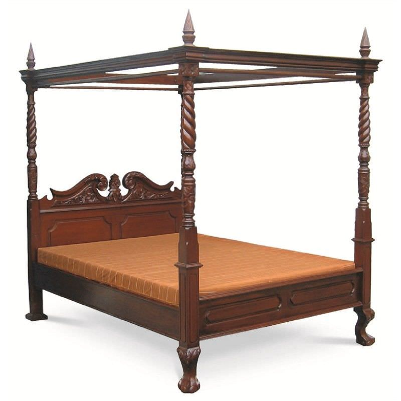 Jepara Mahogany Timber 4 Poster Bed, King, Mahogany