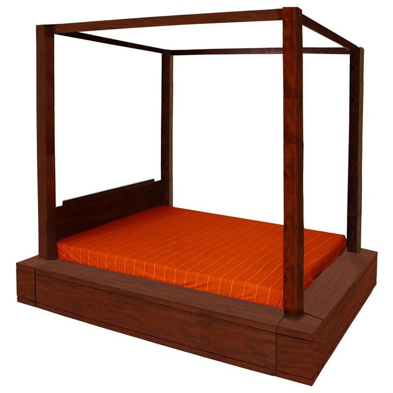 Paris Solid Mahogany Timber King Size Postal Bed - Mahogany