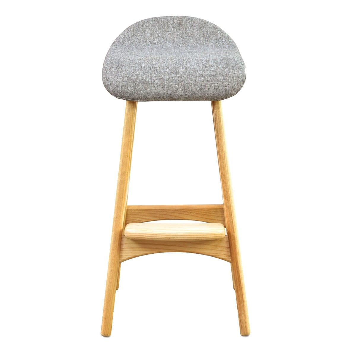 Replica Erik Buch Counter Stool with Fabric Seat, Natural / Grey