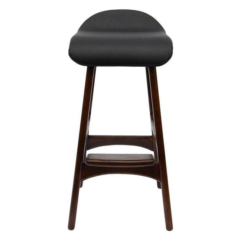 Replica Erik Buch Counter Stool with PU Seat, Walnut / Black