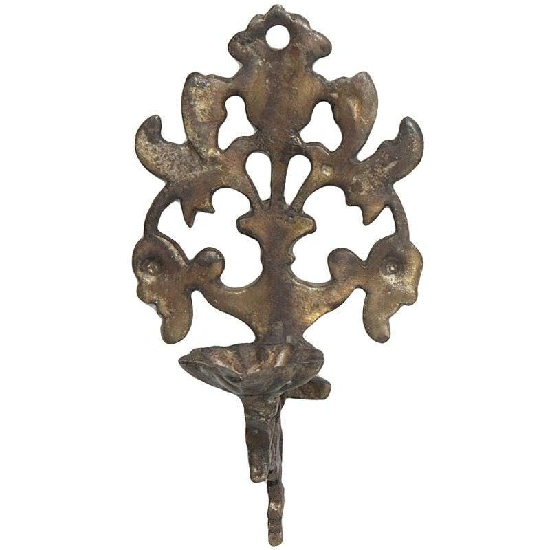 Iris Brass Wall Mount Candle Holder