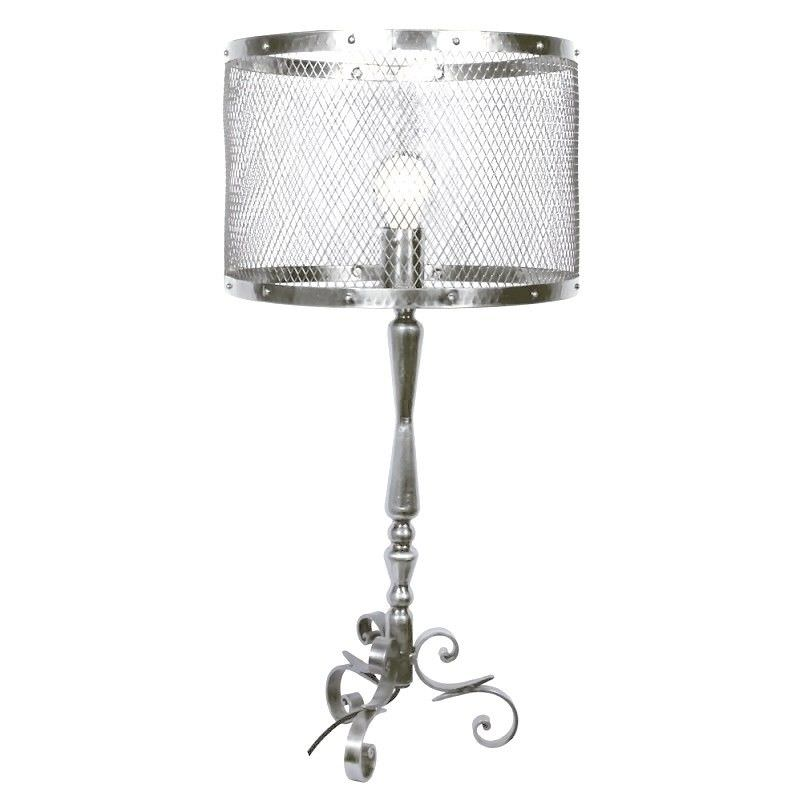 Voleta Iron Table Lamp with Meshed Metal Drum Shade
