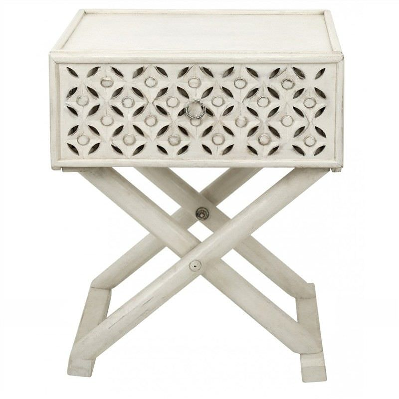 Luxor Carved Timber Criss Cross Side Table, Distressed White