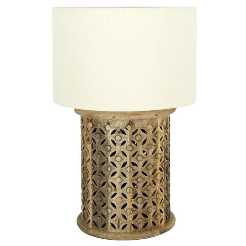 Luxor Carved Timber Base Table Lamp, Natural