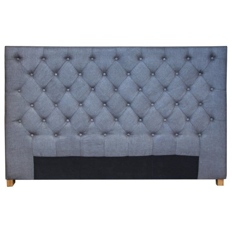 Akiva Quilted Linen Upholstered Double Size Bedhead - Charcoal