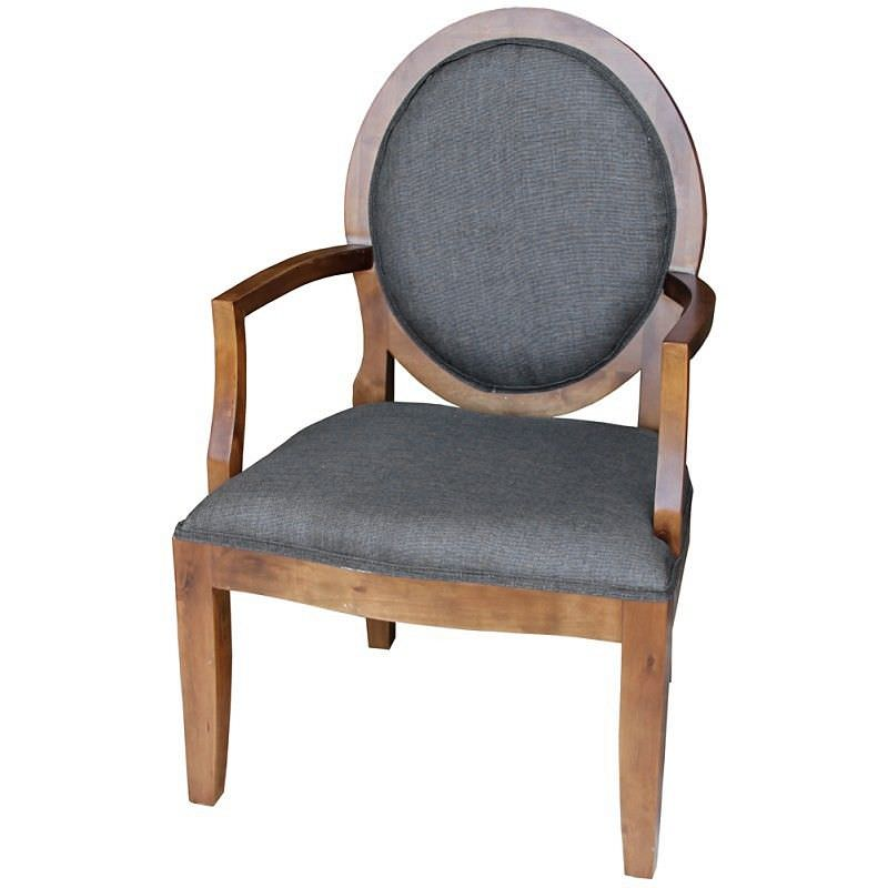 Hawik Linen Fabric Upholstered Timber Armchair - Charcoal