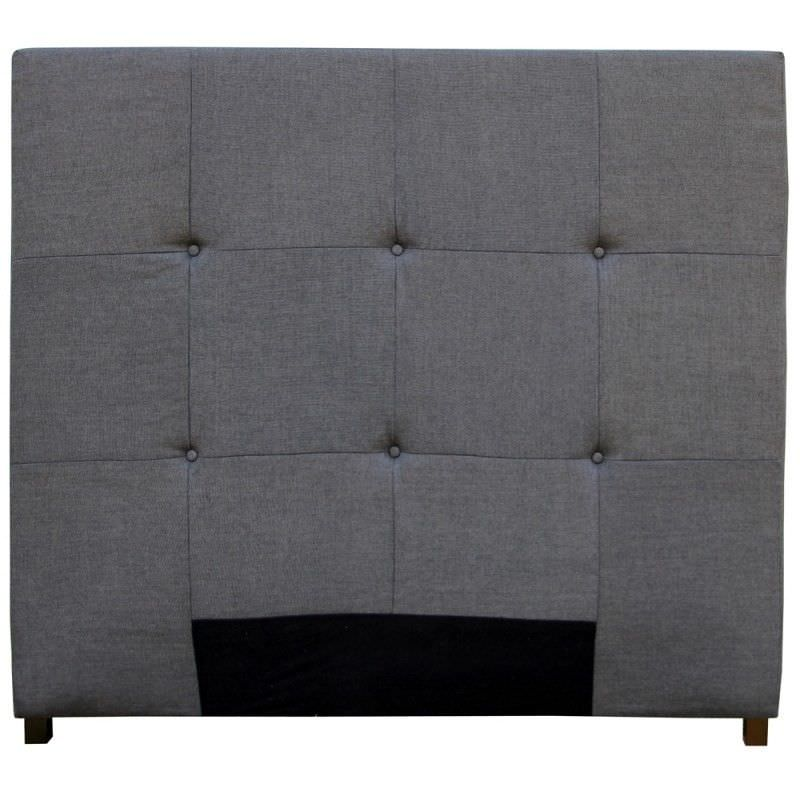 Plain Quilted Linen Queen Size Bed Head - Charcoal