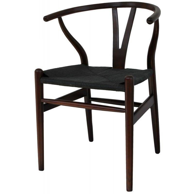Kenya Solid Birch Timber Wishbone Chair with Woven Jute Seat - Dark Brown