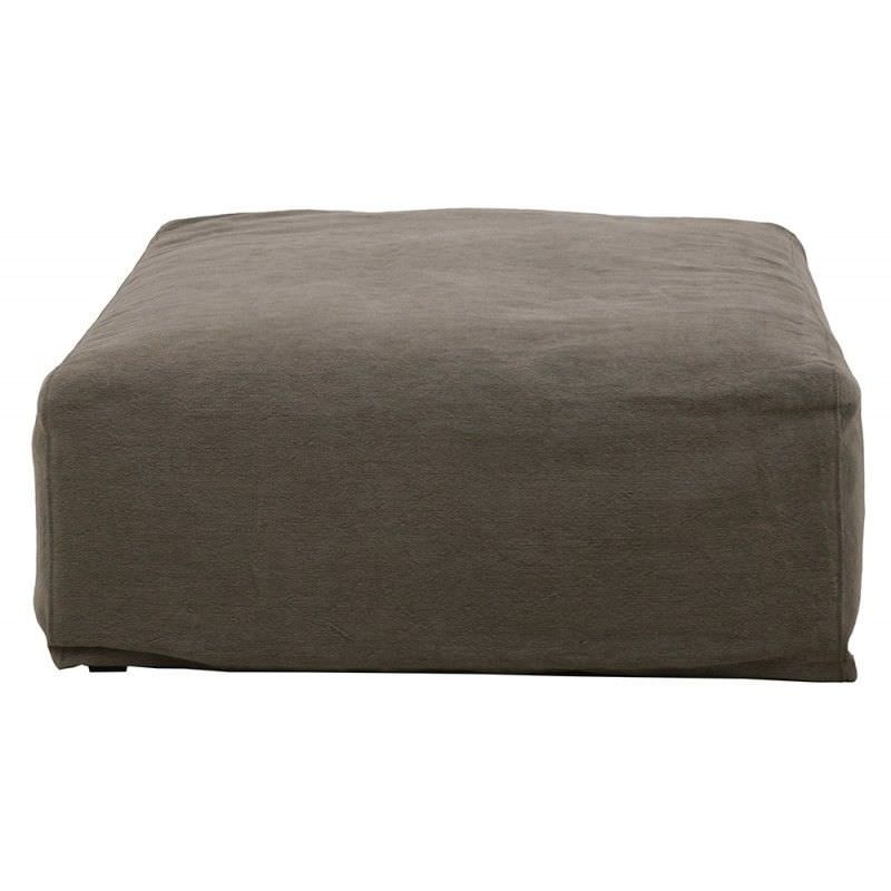 Morgan Jute and Cotton Fabric Ottoman - Taupe