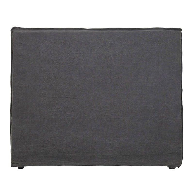 Morgan Jute and Cotton Fabric King Bed Head - Dark Grey