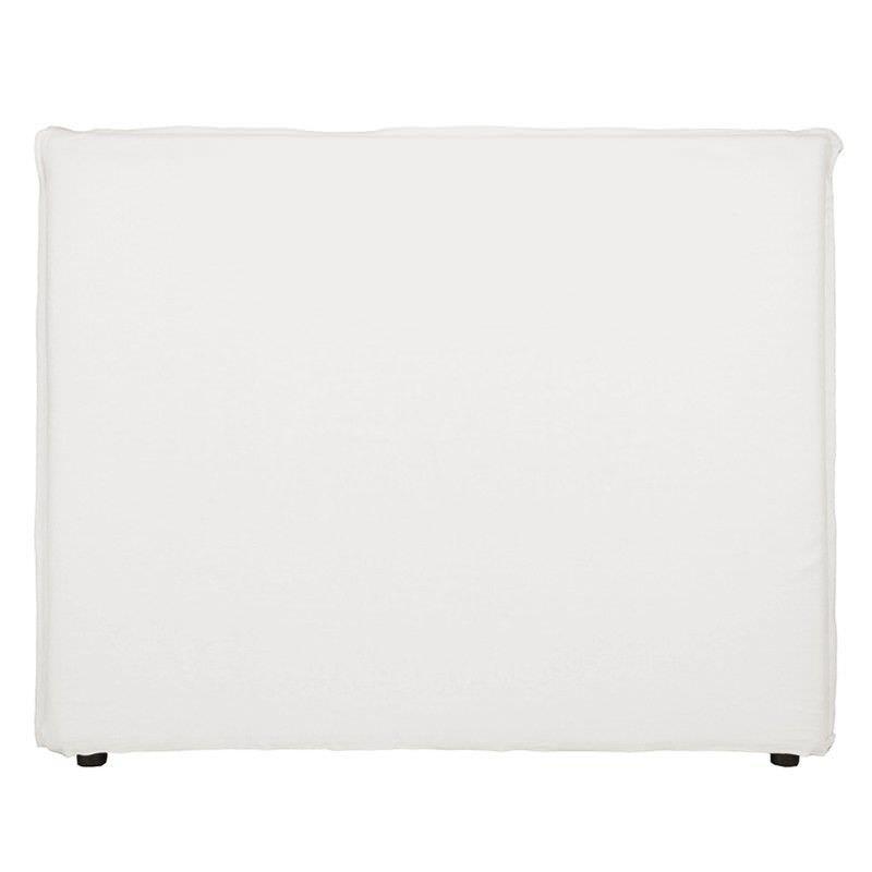 Morgan Linen Fabric Queen Bed Head - White