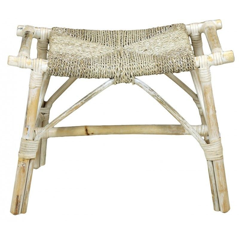 Lelio Bamboo Single Bench with Seagrass Seat, White Wash