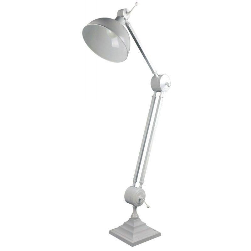 Oskar Industrial Adjustable Metal Floor Lamp - White