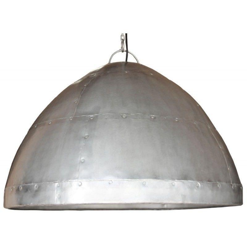 Laage Rivetted Metal Dome Pendant Light - Zinc