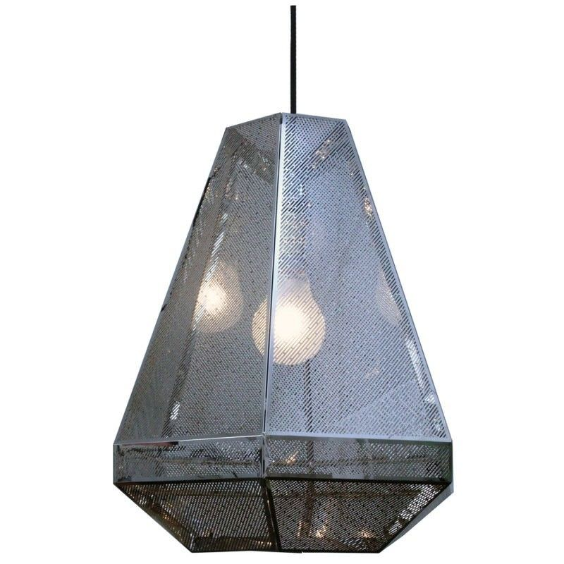 RTDC Perforated Metal Large Pendant Light - Chrome