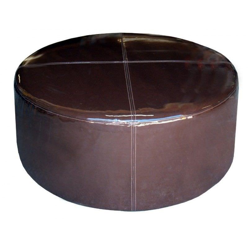Modern Shiny Vinyl 100cm Round Ottoman