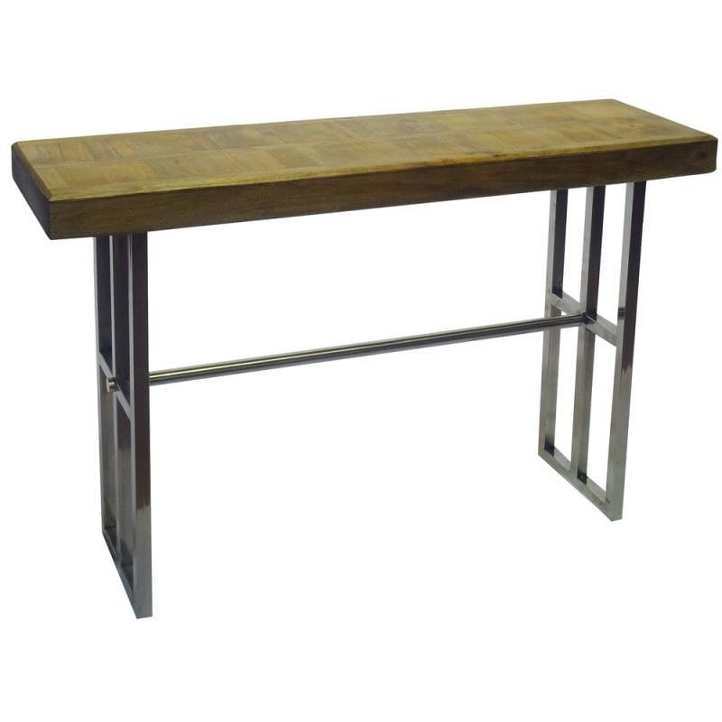 Elliot Solid Timber Top Stainless Steel 180cm Console Table