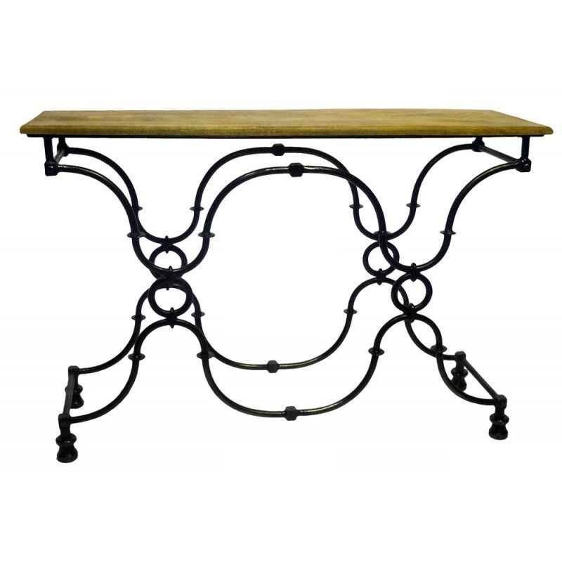 Creek 120cm Iron Console Table with Timber Top
