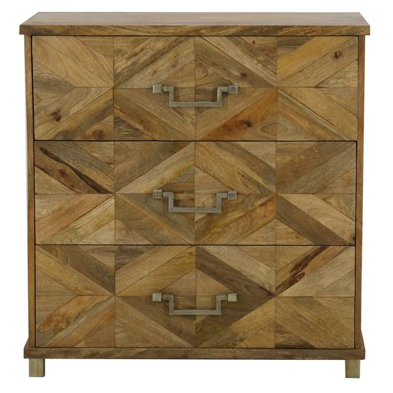 Miles Wood Inlay 3 Drawer Chest - Natural