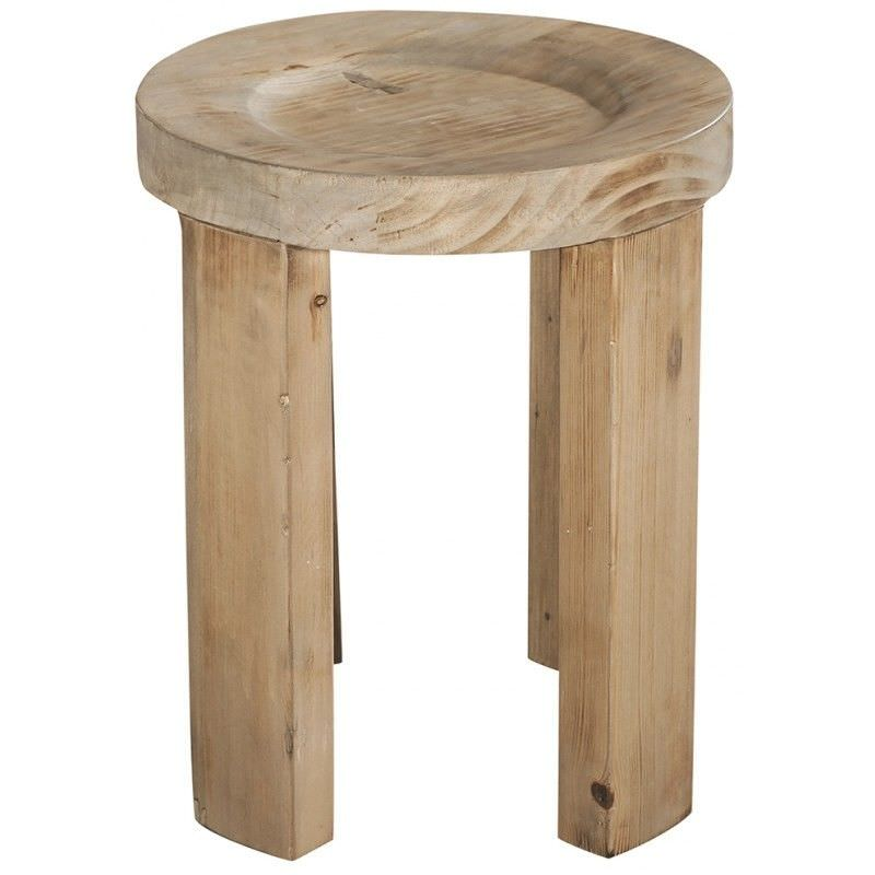 Chandler Recycled Timber Dish Top Round Stool