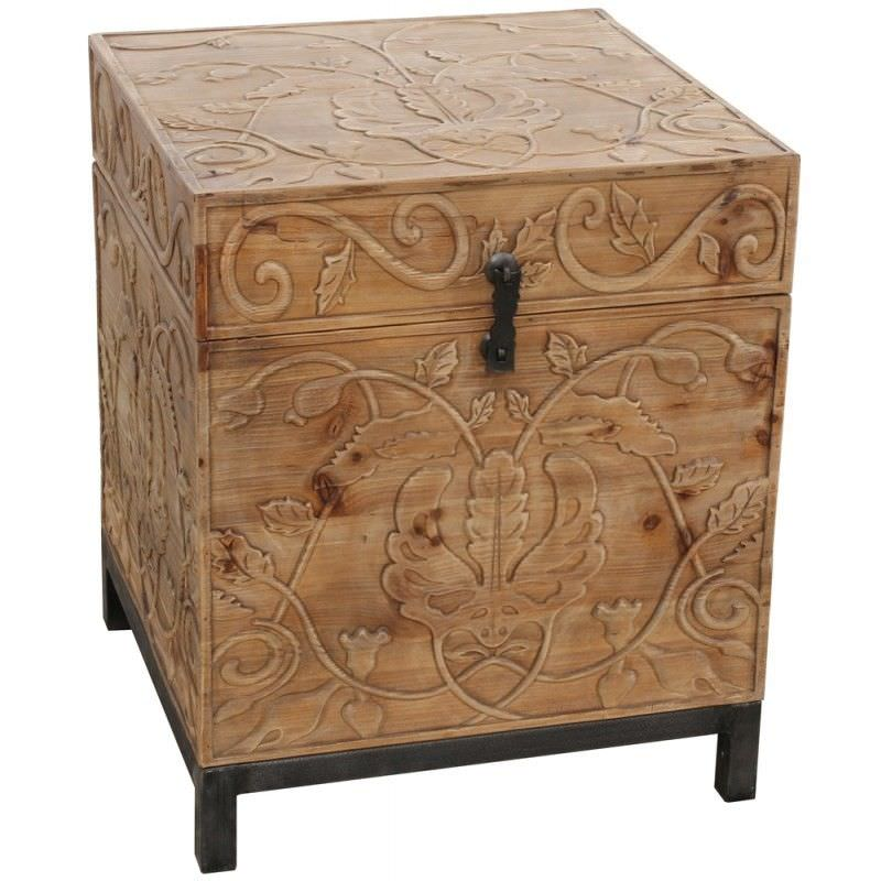Brook Recycled Timber Ornate Carved Trunk in Natural