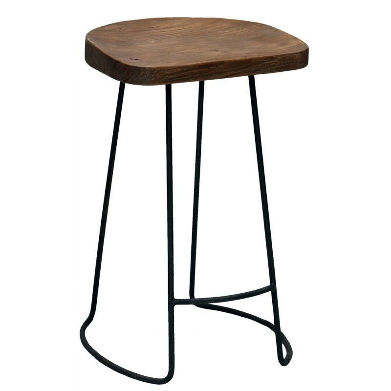 Genet Recycled Timber and Steel Counter Stool