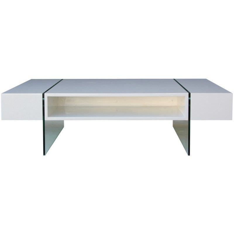 Zell High Gloss 140cm Coffee Table with Glass Legs