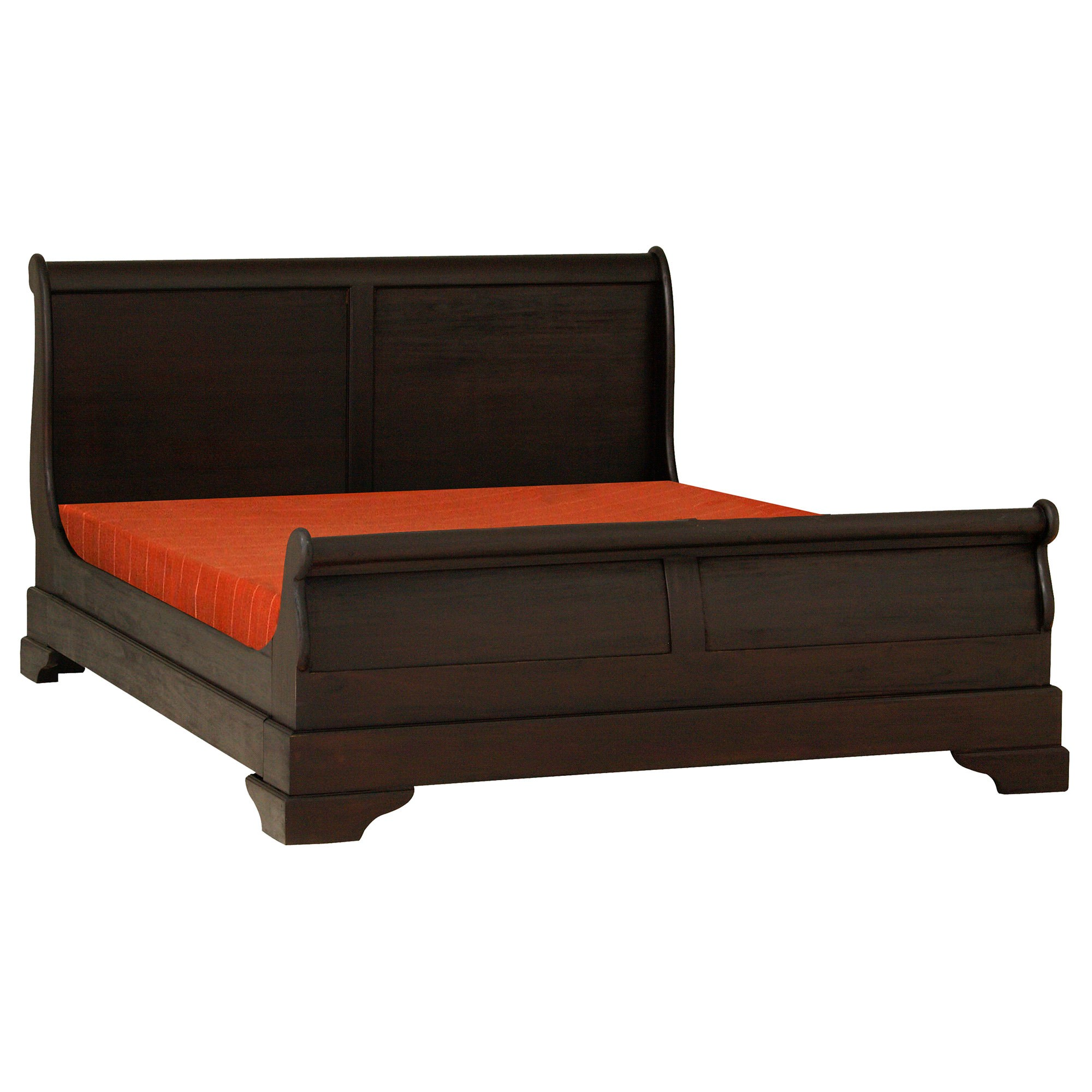 Liam Mahogany Timber Sleigh Bed, Queen, Chocolate