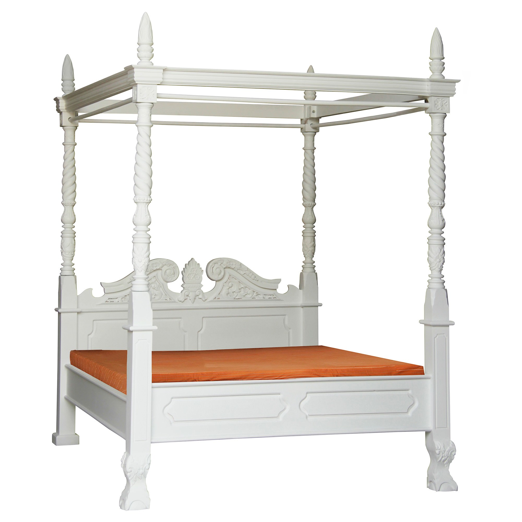 Jepara Mahogany Timber 4 Poster Bed, Queen, White