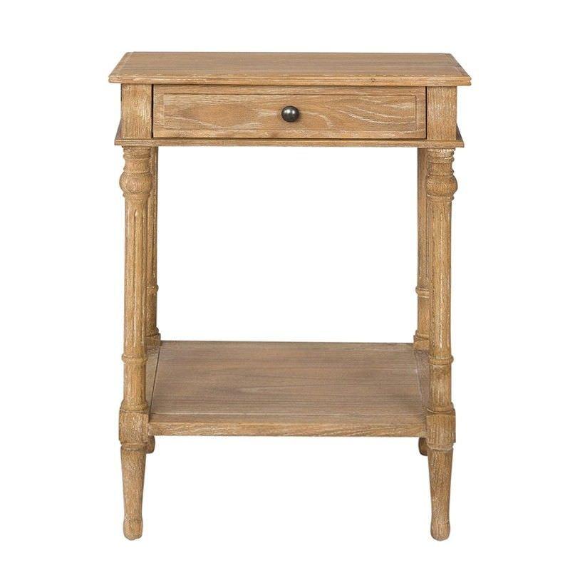 Georgian Solid American Oak Timber Single Drawer Side Table with Shelf