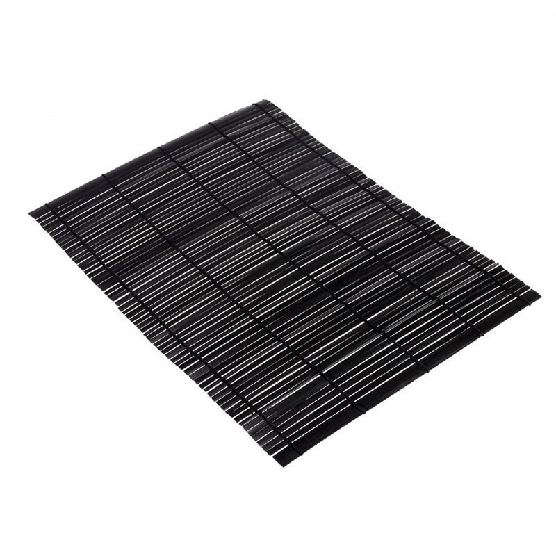 Thin Flat Bamboo Mat - Black (set of 4)