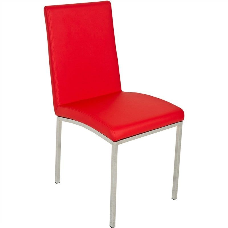 Red Upholstered Dining Room Chairs: Bali Faux Leather Upholstered Dining Chair