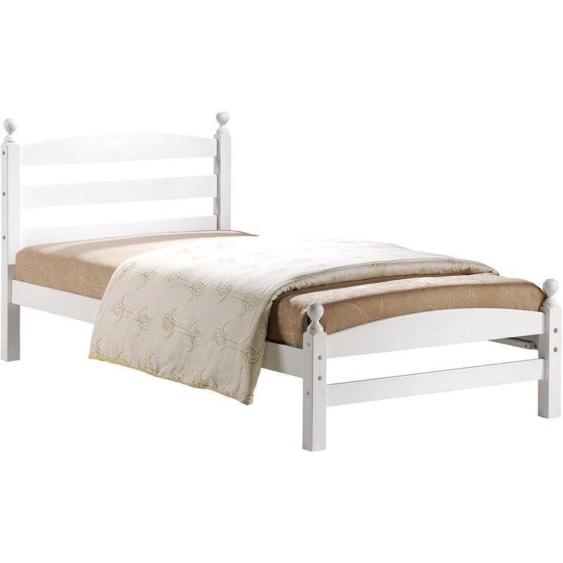 Cosimo Rubberwood Timber Bed, King Single, White