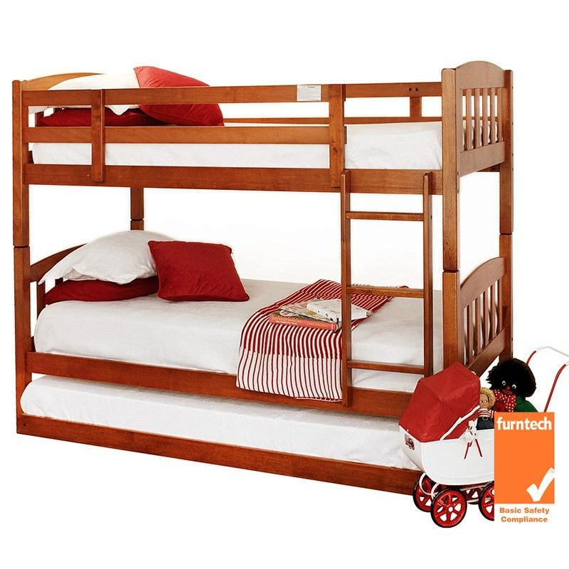 Cody Solid Timber Single Bunk Bed (Trundle Not Included) - Brown